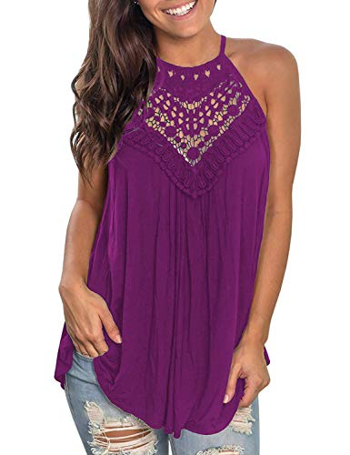 Sweetnight Flowy Tunic Tops Sleeveless T Shirts for Women (Purple, XXL)