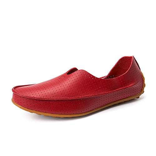 Profitd Homme Chaussures Mocassins Flats Respirant Creux Out en Cuir Véritable Mode Conduite Hommes Chaussures Casual Mens Loafer Red Hollow R4Ld8NoV