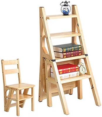 4 escalones Escaleras de madera maciza Silla Escalera plegable Inicio Escalada de madera Escalera utilitaria Taburete Taburete Multifunción Creativo Doble uso Estante de soporte de flores (Color: 2 #): Amazon.es: Hogar