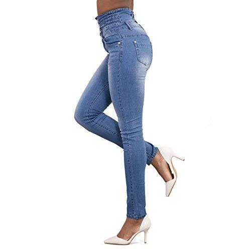 Femmes Clair Haute Taille Chic Bleu Jambe Confortables Pantalons Slim Jeans Collants Stretch Crayon Droite Dames Denim de rarxAC5wq
