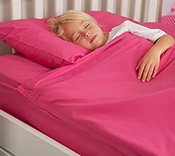 100 Cotton Fuchsia Kids Zip Sheets To Fit A Full Size Bed