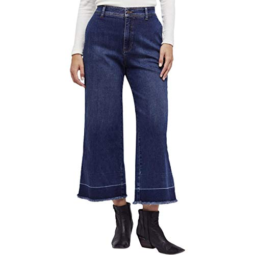 Wide Jeans Mid Leg Rise (Free People Womens Cropped Mid-Rise Wide Leg Jeans Blue 27)