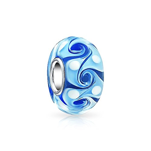 Blue Swirl white Dot Murano glass Lampwork Charm Bead .925 Sterling Silver (Charms Lampwork White)
