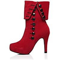 Skanlity Women Platform Boots Red Black Color Woman Winter Boots with Plush Thin Heels