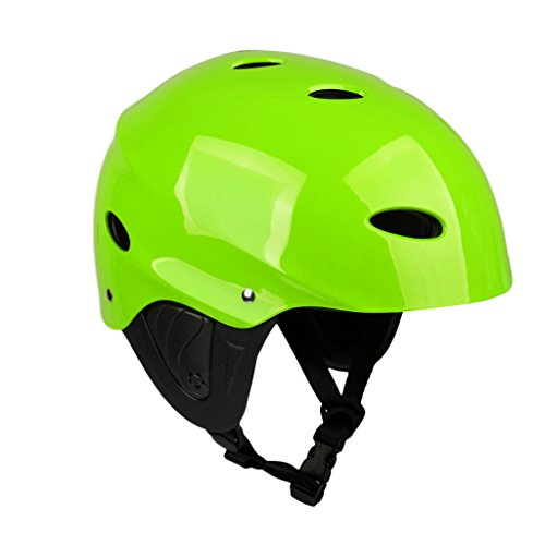 MagiDeal CE Approved Kayaking Canoeing Water Sports Lightweight Adjustable Safety Helmet with Ear Protection Cover M/L Green/ Rose