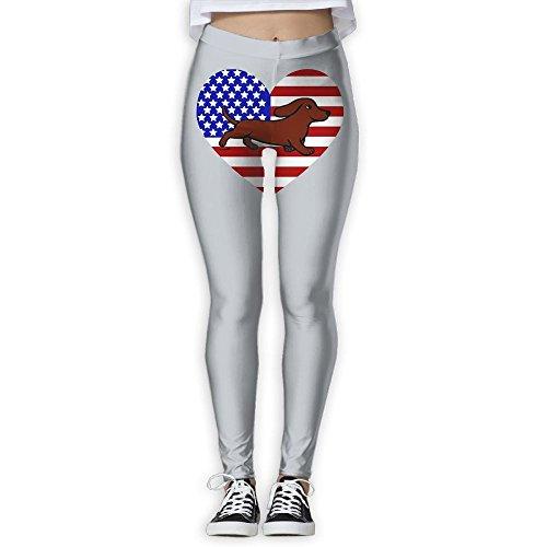 Women's Soft Basic American Flag Dachshund Ugly High Waist - Usa Shopping Destiny