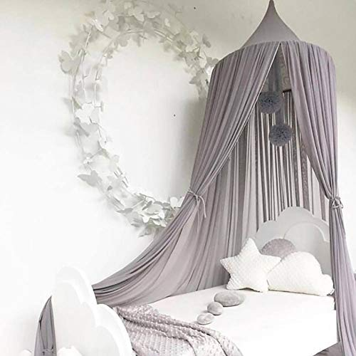 Adarl Princess Cotton Bed Canopy Mosquito Net for Kids, Round Dome Netting Curtains Hanging Play Tent for Baby Boys and Girls Games ()
