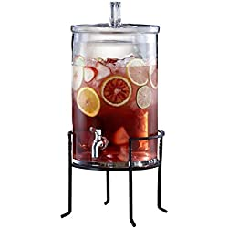 Style Setter 2.5 Gallon Glass Beverage Dispenser with Stand, Clear