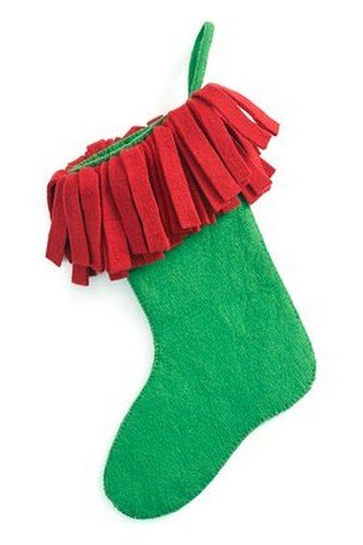 Arcadia Home S435 Hand Felted Wool Christmas Stocking, Green - Felted Wool Christmas Stocking