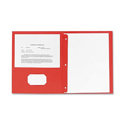 Sparco 2-Pocket Folders, with Fasteners, 1/2-Inch Capacity, Letter, 25 per Box, Red (SPR71445) (Business Card Sparco Holder)