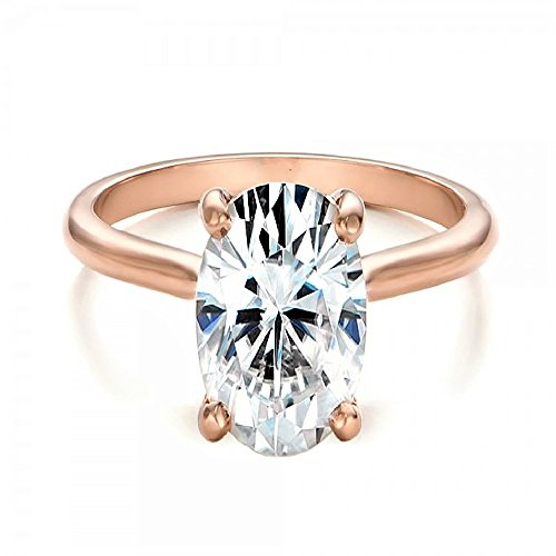 espere Womens Sterling Silver Cubic Zirconia 2 Carat Oval Solitaire Engagement Ring Rose-Gold-Plated-Base Size 7