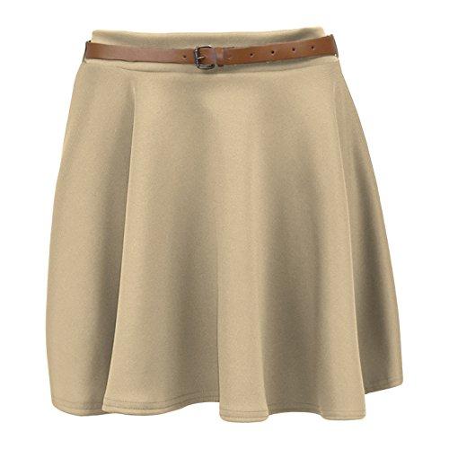 Pantalones de deporte para mujer circuito de Mini falda plisada de traje de neopreno para mujer Belted de destornilladores Casual para vestidos de fiesta 8-14 Beige