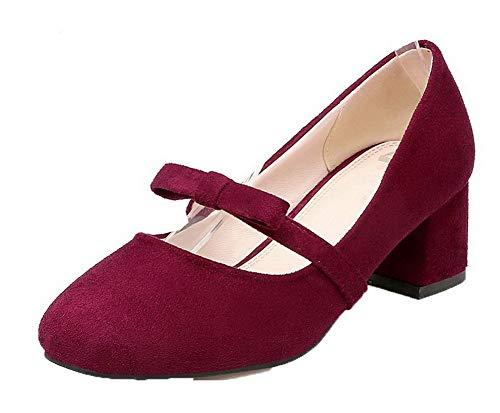 scarpe Aalardom chiuso con tacco con tsmdh003330 Women chiuso Mid Heel Bordeaux tacco WrzAntSz