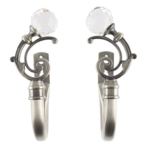 Lavish Home Curtain Holdbacks with Mounting Hardware Decorative Drape Tieback Hooks with Crystal Ball Finials for Home Décor, Set of 2 Pewter