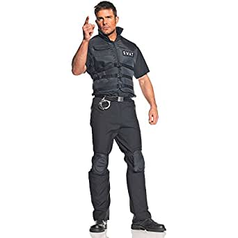 Underwraps Carnival 199774 SWAT Adult Costume - Black - One-Size - Standard