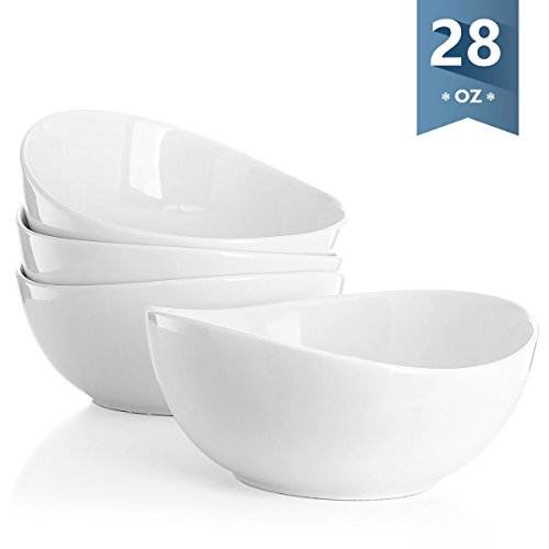 Sweese 1104 Porcelain Bowls - Set of 4-28 Ounce (Top to the Rim) for Cereal, Salad and Desserts, White