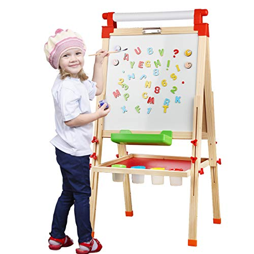 Joyooss Kids Wooden Easel with Paper Roll - Adjustable Magnetic Double Sided Drawing Board Whiteboard & Chalkboard Dry Easel Board, Children Art Easel for 3~12 Years Kids Boys Girls Painting Drawing