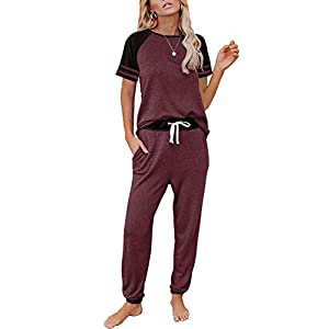 AUTOMET Lounge Sets For Women Two Piece Outfits Loungewear Short Sleeve Crewneck Jogger Pajama Set and Sweatpants…