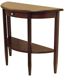 Winsome Wood Half Moon 1 Drawer Hall Table, Antique Walnut