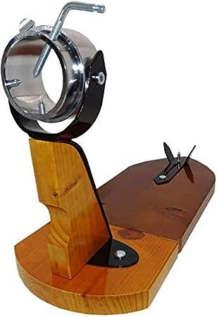 Jamonero Modelo Bellota Color Marrón Fabricado en Madera de Primera Calidad, Jamonero rústico ideal uso doméstico y profesional, incluye barra salchichón, cubrejamón negro, cuchillo y chaira