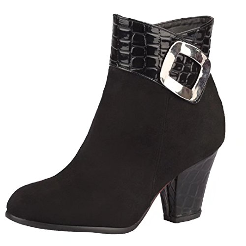 AIYOUMEI Womens Thick Heel Ankle Booties Round Toe Winter Boots with Buckle Black K2VRJ7N