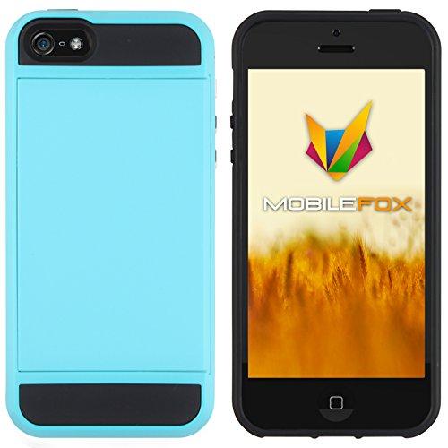 Mobilefox Kathrin Schutzhülle Silikon Case Kartenfach Apple iPhone 5/5S/SE Hellblau