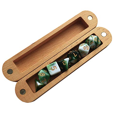 Wood Dice Storage Box (Magnetic Lid) with 20mm Green and White Gem Polyhedral DND Dice Set-7Pieces