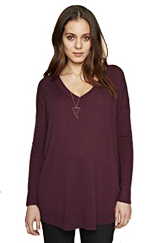 Sweater V-neck Luxe (Isabella Oliver Rosaline Maternity Luxe V Neck Sweater - Wine - Large)