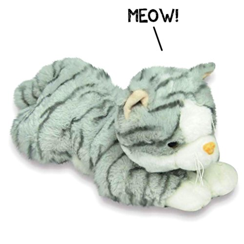 Plush Super Soft Kitten That Meows Stuffed Kitty Cat Toy (White and Grey Striped)