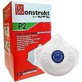 Konstrukt P2 N95 Valved Disposable Face Mask Respirators (12 Pack)