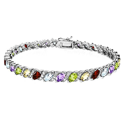 Sterling Silver Multi Color Stone - Sterling Silver Multi Color Gemstone Marquise-cut Tennis Bracelet with White Topaz Accents