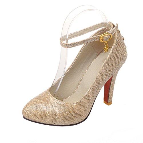 AIYOUMEI Damen High Heels Knöchelriemchen Pumps mit Schnalle Stiletto High Heels Hochzeitsschuhe Gold