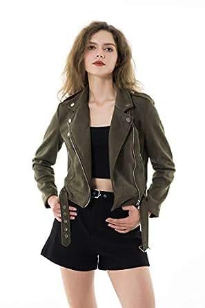 Apperloth Women's Slim Faux Leather Moto Biker Zipper Short Coat Jacket