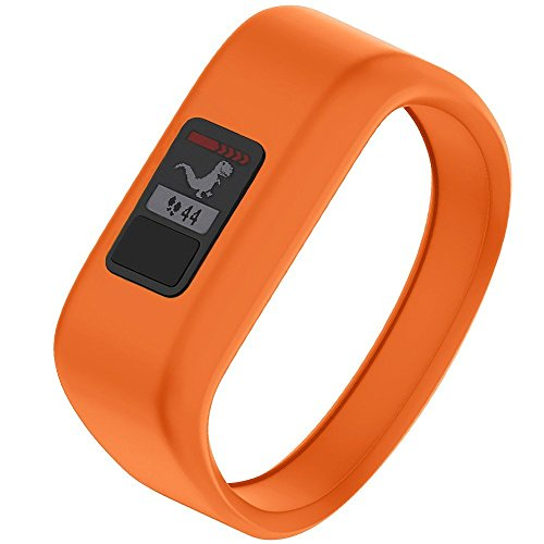 NotoCity Compatible with Garmin Vivofit JR/JR 2/3 Bands,Soft Silicone Replacement Watch Bands for Boy Girls Kids,Orange Small
