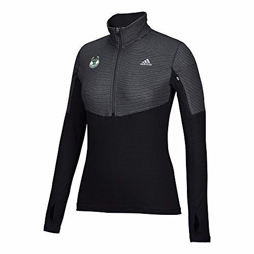 adidas Milwaukee Bucks NBA Black Lightweight Climalite Performance Half Zip Team Logo Pullover Jacket For Women (2XL)