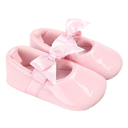 Baby Girls Shiny Patent Leather Christening Baptism Mary Jane Princess Dress Flat Shoes with Bowknot Pink Size L -