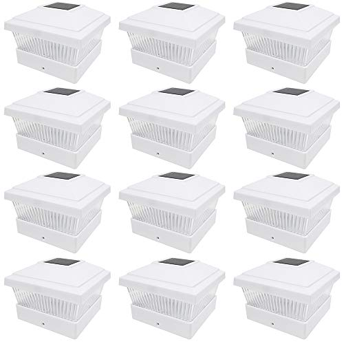 iGlow 12 Pack White Outdoor Garden 5 x 5 Solar LED Post Deck Cap Square Fence Light Landscape Lamp Lawn PVC Vinyl Wood ()
