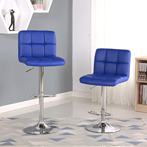 Roundhill Furniture 2 Swivel Elegant PU Leather Modern Adjustable Hydraulic Barstools, Blue