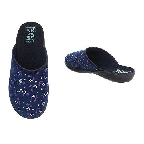 Chaussures Pantoufles femme bleu Chaussons Design Plat Baskets mode Multi Ital rgrdqHXv