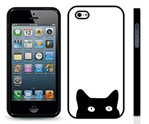 Peaking Scared Black Cat Design Snap-on Cover Hard Carrying Case for iPhone 5/5s