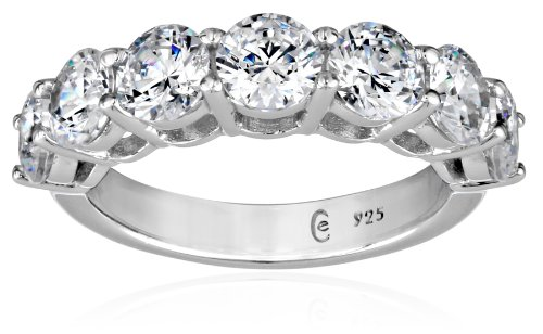 Platinum-Plated Sterling Silver 7-Stone Ring made with Swarovski Zirconia (3 cttw), Size 7