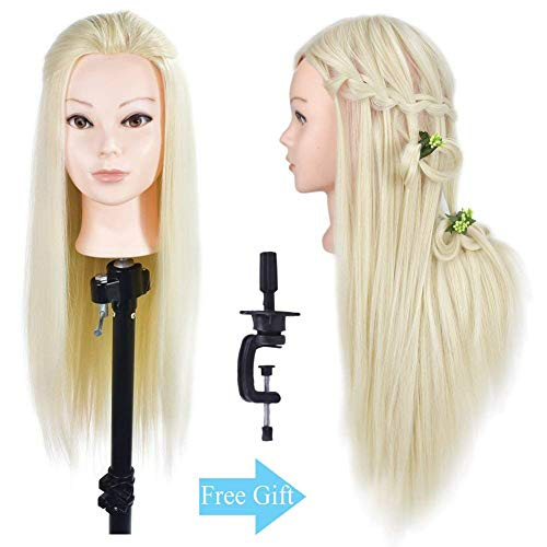 """Beauty : 26""""- 28"""" Mannequin Head Hair Styling Training Head Manikin Cosmetology Doll Head Synthetic Fiber Hair (Table Clamp Stand Included)"""