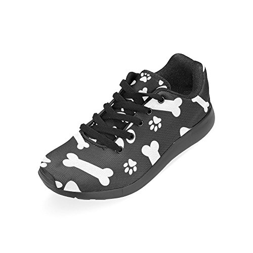InterestPrint Womens Road Running Shoes Jogging Lightweight Sports Walking Athletic Sneakers Dog Paw Black White jzgpr7