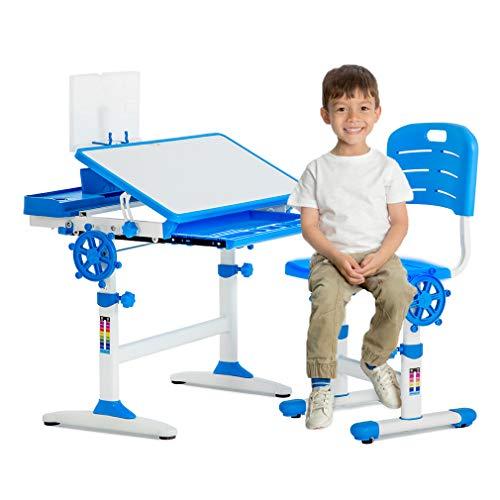 Set Chair Desk (BestMassage Children Desk Kids Study Child School Adjustable Height Children's Table Chair Set with Storage for Kids-Blue)