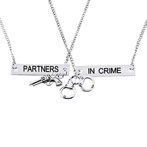 MJartoria Split Valentine Heart Partners in Crime Engraved Friendship Necklaces Set of 2 (Silver color3)