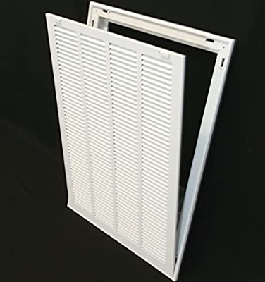 """16"""" X 25 Steel Return Air Filter Grille for 1"""" Filter - Removable Face/Door - HVAC DUCT COVER - Flat Stamped Face - White [Outer Dimensions: 18.5""""w X 27.5""""h]"""