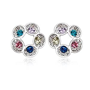ZMC Women's Rhodium Plated Alloy Swarovski Crystals and Austrian Crystals Stud Earrings, Multi Color