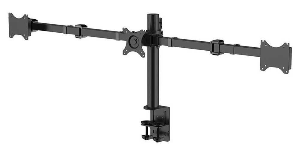 PrimeCables Triple LCD LED Monitor Desk Mount Stand up to 30- 3 Fully Adjustable Aircraft Aluminum Monitor Arms for 3 Screens (each 10-30) - Sturdy, Full Motion Monitor Stand Plus in Black with 75 x 75 and 100 x 100 VESA Patterns (Cab-DLB113)