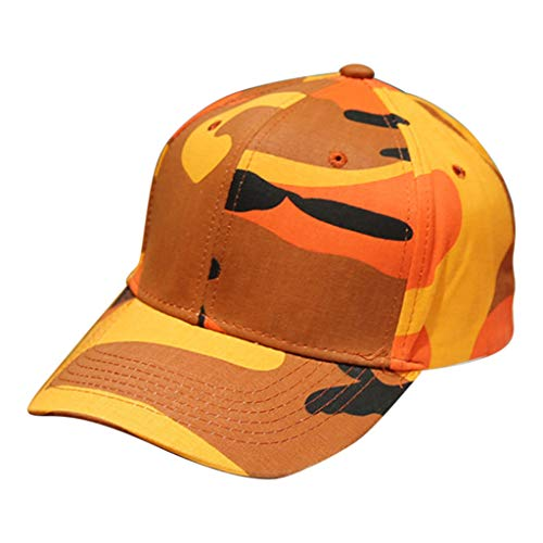 Haluoo Classic Polo Style Baseball Cap Army Military Camo Camouflage Cap Men Women Unconstructed Dad Hat Snapback Hat for Hunting Fishing Cycling Outdoor Activities (Orange)