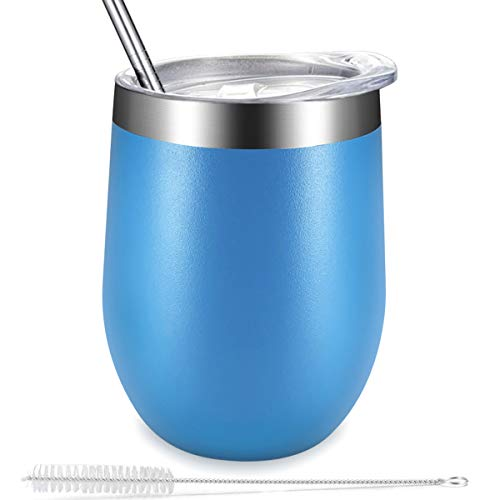 Stemless Wine Tumbler with Lid and Straw, Personalized Wine Tumblers Mug Glasses by Eaninno, Stainless Steel 18/8 Vacuum Insulated Cup Gift, for Wine, Coffee, Drinks, Juice (12 oz-Deepsky Blue) ()